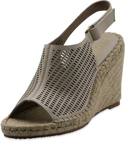Vicente Perforated Leather Wedge Espadrilles