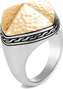 Classic Chain Hammered Ring w/ 18k Gold, Size 6-8