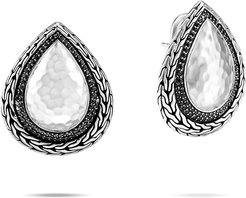 Classic Chain Hammered Black Spinel Pear Earrings