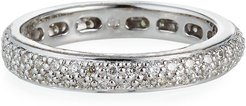 14k White Gold Diamond Eternity Band Ring, Size 6.5