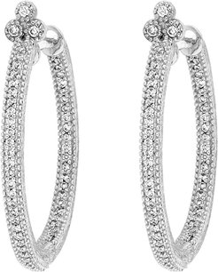 Provence Medium White Gold Pave Diamond Hoop Earrings