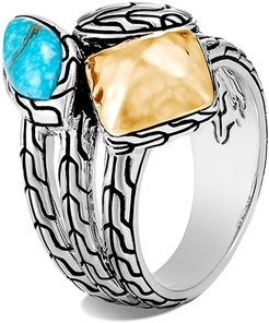 Classic Chain Turquoise and 18k Gold Ring, Size 7