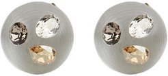 Crystal Studded Button Post Earrings, Silver