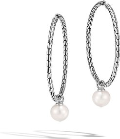 Classic Chain Hoop Earrings with Detachable Pearls