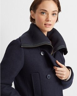 Navy Rib Neck Peacoat in Size M