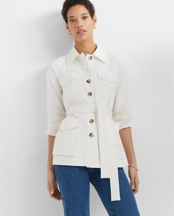 Ivory Textured Utility Jacket in Size M