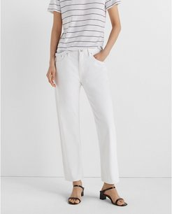 White Relaxed Slim Crop Jeans in Size 31