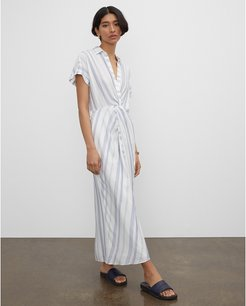 White And Blue Striped Twist Front Maxi Dress in Size 2