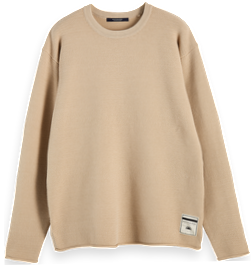 Oversized long sleeve cotton-blend knit