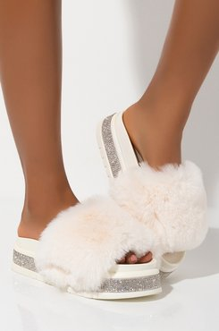 AKIRA Azalea Wang Blinded By My Presence Fur Slides In White