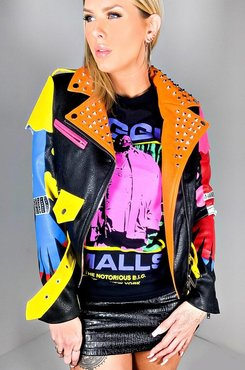 AKIRA Azalea Wang Graffiti Scream Moto Jacket