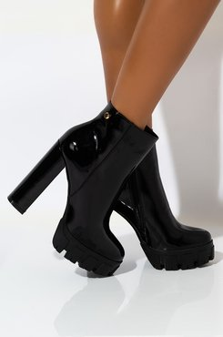 AKIRA Azalea Wang Maybe You Can Show Me How Bootie In Black Patent