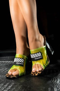 AKIRA Cape Robbin Bubbles And Bubbly Funky Neon Chunky Heel Sandal
