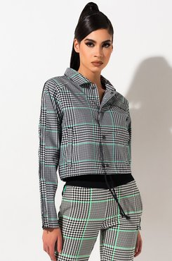 AKIRA Champion Cropped Coaches Houndstooth All Over Print Jacket