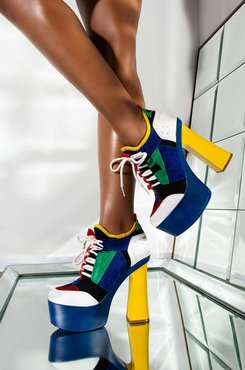 AKIRA Dont Mess With Us Chunky Heel Color Block Platform Bootie