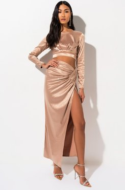 Golden Hour Rhinestone Maxi Skirt