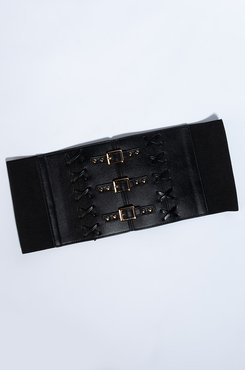 Lady In Leather Stretchy Buckle Belt
