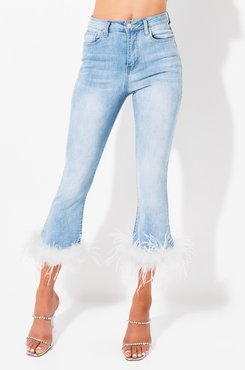Olivia Feather Hem Cropped Jeans