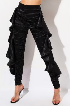 Shake It Ruched High Waisted Ruffled Satin Pants