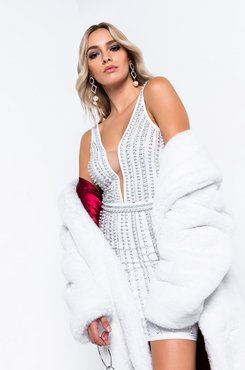 Winter Whites Long Faux Fur Trench Coat