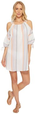 Sunset Stripe Cold Shoulder (White) Women's Clothing
