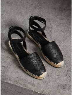 Embossed Grainy Leather Espadrille Sandals, Size: 35