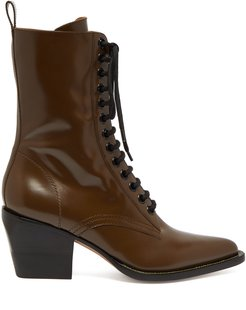 Point-toe lace-up leather boots