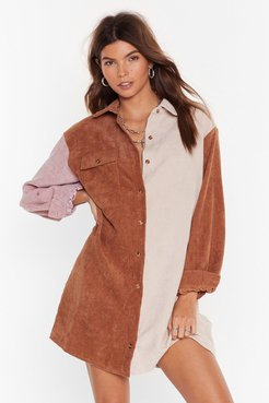 Writers Block Colour Corduroy Shirt Dress