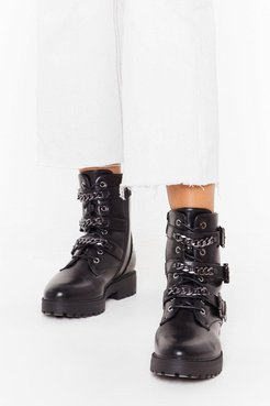 Chain-ge of Direction Faux Leather Studded Boots