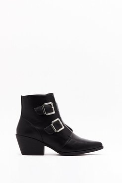 Double Trouble Faux Leather Buckle Boots