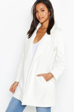 Faux Teddy Fur Collared Jacket - white - S