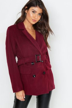 Belted Double Breasted Wool Look Blazer - red - 8