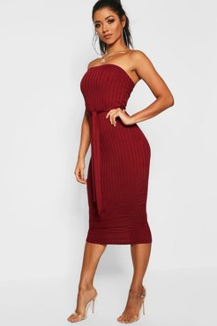 Ribbed Bandeau Belted Midi Dress - red - 6