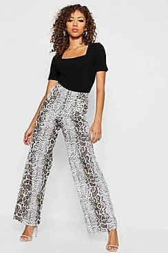 Pocket Front Snake Print Wide Leg Trousers