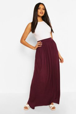 Basic Floor Sweeping Jersey Maxi Skirt - red - 8