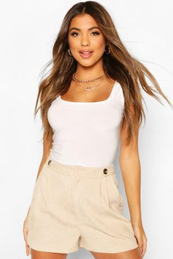 Cord Button Detail Pleat Front Shorts - cream - 10