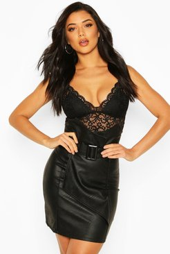 High Waist Belted Leather Look Skirt - black - M