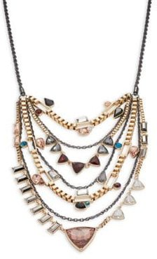 Layered Stone-Accented Statement Necklace