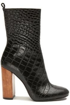 Smith Croco Print Leather Boots