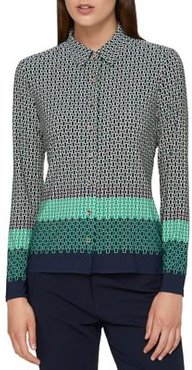 Chain Link-Print Collared Blouse