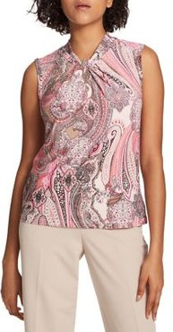Printed Twisted-Neck Top