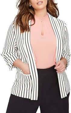 Plus Striped Three-Quarter Sleeve Blazer