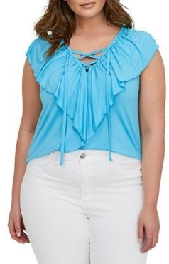 Plus Frilled Lace-Up Tank Top