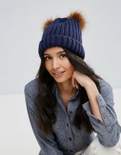 Knitted Beanie Hat With Double Pom Pom - Navy