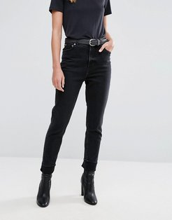 High Rise Mom Jean in Washed Black - Black