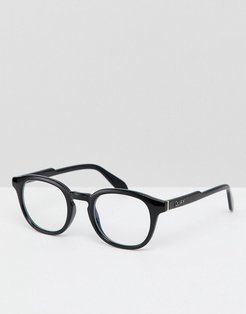 Walk On square clear lens glasses in black with blue light blocker
