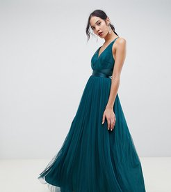 ASOS DESIGN Tall Premium Tulle Maxi Prom Dress With Ribbon Ties