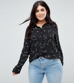 Relaxed Blouse In Celestial Print - Black