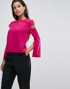 AQ/AQ Cut Out Top With Hardware Detail And Self Tie Belt - Pink