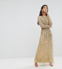 Embellished Baroque Maxi Dress With Front Split - Gold